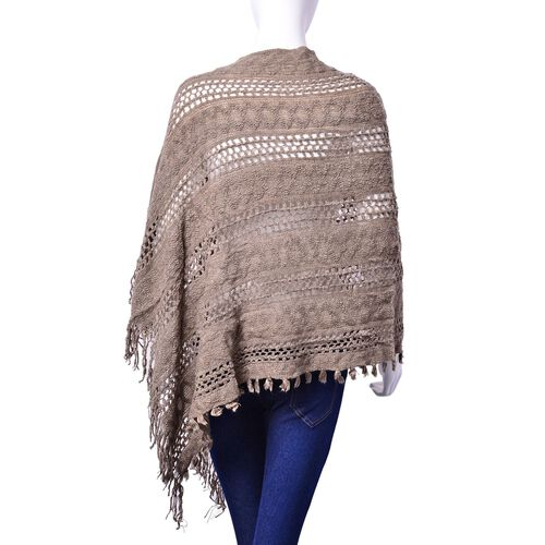 Designer Inspired Khaki Colour Poncho with Tassels (Free Size)