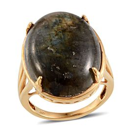 Labradorite (Ovl) Solitaire Ring in 14K Gold Overlay Sterling Silver 32.000 Ct.