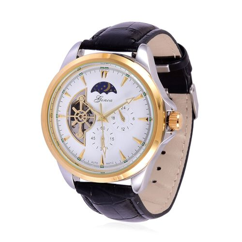 GENOA Automatic Skeleton White and Golden Dial Water Resistant Watch in Gold Tone with Stainless Steel Back and Black Colour Strap
