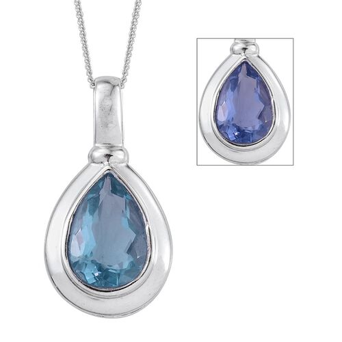 Colour Change Fluorite (Pear) Solitaire Pendant With Chain in Platinum Overlay Sterling Silver 3.500 Ct.