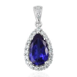 ILIANA 18K W Gold AAA Tanzanite (Pear 2.25 Ct), Diamond Pendant 2.500 Ct.