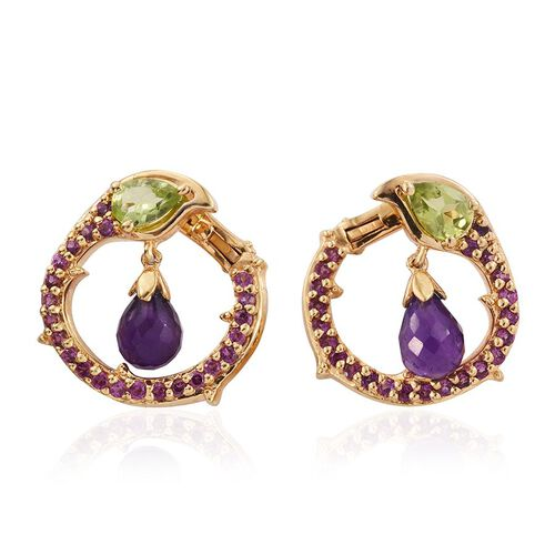 GP Amethyst, Hebei Peridot ,Rhodolite Garnet and Kanchanaburi Blue Sapphire Earrings (with Clasp) in 14K Gold Overlay Sterling Silver 6.750 Ct.