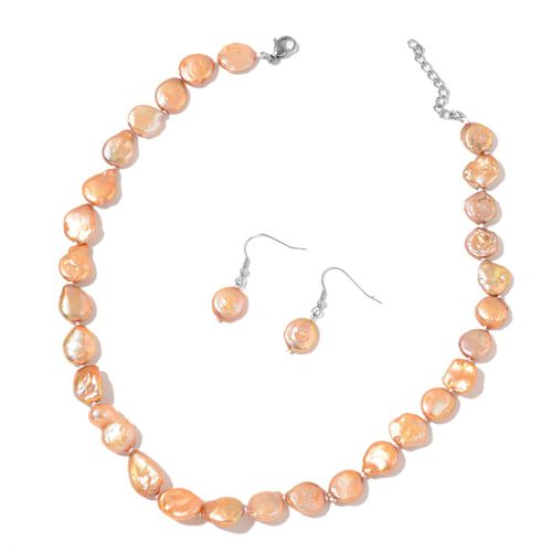 Fresh Water Champagne Pearl Necklace (Size 18) and Hook Earrings in Rhodium Plated Sterling Silver