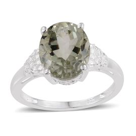 Green Amethyst (Ovl) Solitaire Ring in Sterling Silver 3.500 Ct.