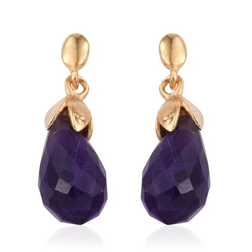 Amethyst Earrings (with Push Back) in 14K Gold Overlay Sterling Silver 4.250 Ct.