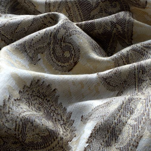 Grey Colour Jacquard Print White Shawl (Size 175x65 Cm)