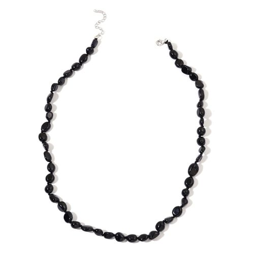 Hand Knotted Australian Black Tourmaline Necklace (Size 18 with 2 inch Extender) in Rhodium Plated Sterling Silver 120.000 Ct.