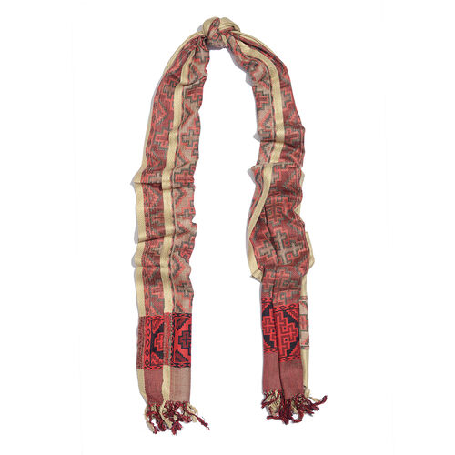 Cream and Red Colour Jacqaurd Scarf with Fringes (Size 200x70 Cm)