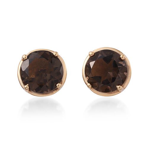 Brazilian Smoky Quartz (Rnd) Stud Earrings (with Push Back) in 14K Gold Overlay Sterling Silver 4.500 Ct.