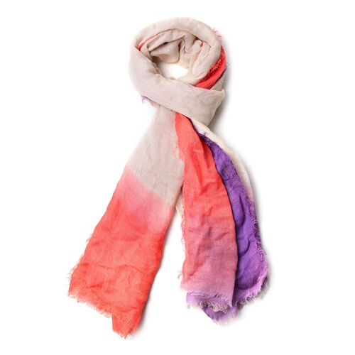 Beige, Purple and Orange Colour Scarf with Fringes (Size 180X90 Cm)