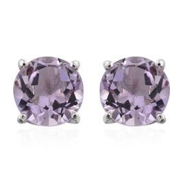 Rose De France Amethyst 2.25 Ct Solitaire Stud Earrings  in Platinum Overlay Silver