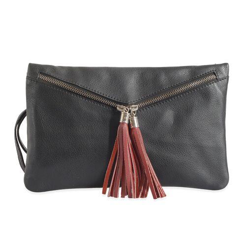 Genuine Leather Black Colour Sling Bag with External Zipper Pocket and Adjustable Shoulder Strap