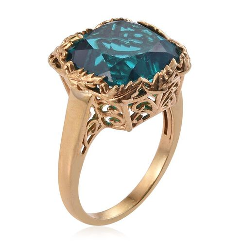 Capri Blue Quartz (Cush) Ring in 14K Gold Overlay Sterling Silver 12.000 Ct.
