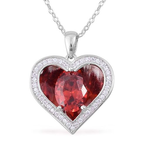 AAA Simulated Garnet and Simulated White Diamond Pendant With Chain in Rhodium Plated Sterling Silver