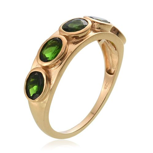 Russian Diopside (Ovl) 5 Stone Ring in 14K Gold Overlay Sterling Silver 2.500 Ct.