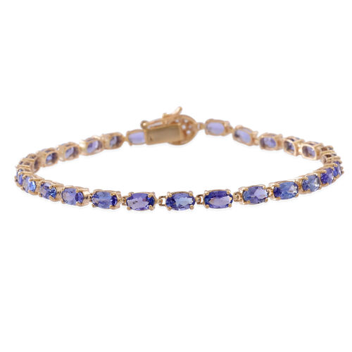 9K Y Gold Tanzanite (Ovl), Natural Cambodian White Zircon Bracelet (Size 7.5) 6.250 Ct.