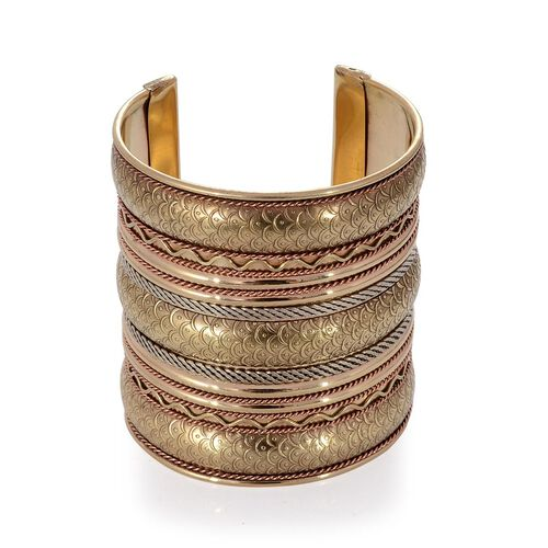 Handmade Layered Brass Fish Scale Cuff Bangle