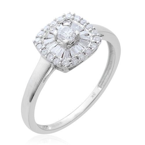 9K White Gold 0.50 Carat Diamond Cluster Ring SGL Certified I3/G-H.
