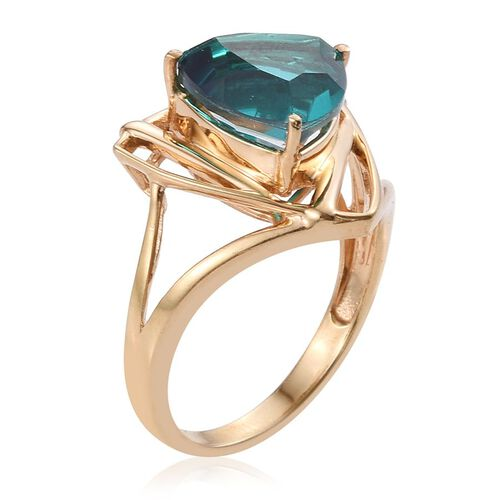 Capri Blue Quartz (Trl) Solitaire Ring in 14K Gold Overlay Sterling Silver 6.500 Ct.
