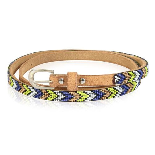 Genuine Leather Handmade Yellow, White, Blue and Beige Colour Seed Beaded Belt (Size 110x1.25 Cm)