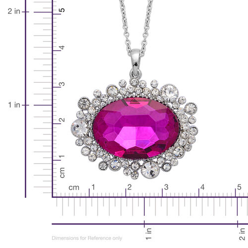 Pink Glass and White Austrian Crystal Pendant With Chain in Silver Tone with Stainless Steel