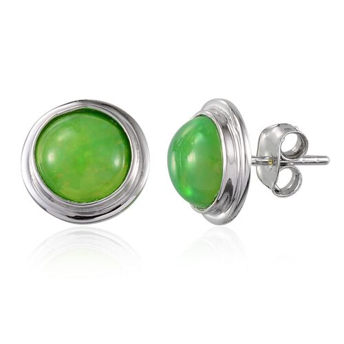 9K W Gold Green Ethiopian Opal (Rnd) Stud Earrings (with Push Back) 2.000 Ct.