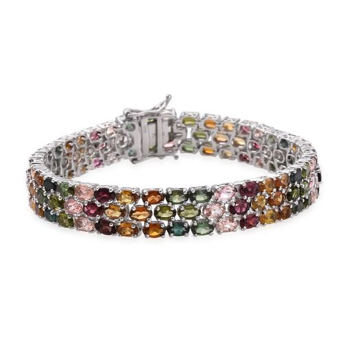 Rainbow Tourmaline (Ovl) Bracelet (Size 7.5) in Platinum Overlay Sterling Silver 25.000 Ct.