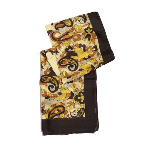 100% Mulberry Silk Chocolate, Beige and Multi Colour Flower, Leaves and Paisley Hand Screen Printed Scarf (Size 170X100 Cm)
