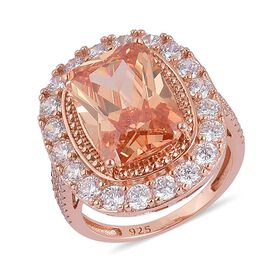ELANZA AAA Simulated Champagne Diamond and Simulated White Diamond Ring in Rose Gold Overlay Sterling Silver