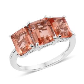 Galileia Blush Pink Quartz (Oct 2.50 Ct) 3 Stone Ring in Platinum Overlay Sterling Silver 6.000 Ct.