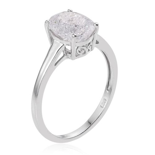 Diamond Crackled Quartz (Ovl) Solitaire Ring in Platinum Overlay Sterling Silver 2.500 Ct.
