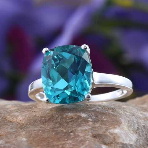 Capri Blue Quartz (Cush) Solitaire Ring in Sterling Silver 5.750 Ct.