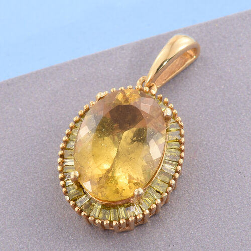 Rare AAA Size Golden Honey Apatite (Ovl 6.00 Ct), Diamond Pendant in 14K Gold Overlay Sterling Silver 6.500 Ct.