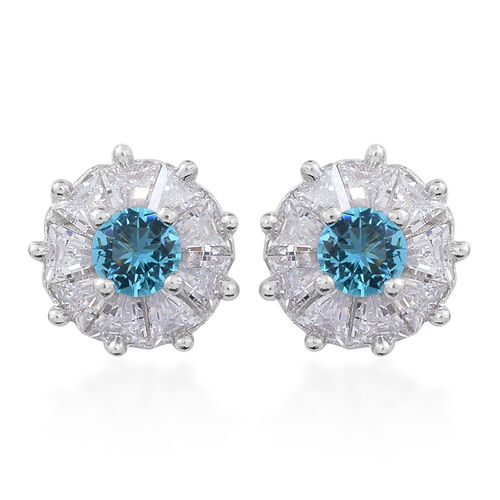 ELANZA AAA Simulated Paraiba Tourmaline Colour (Rnd), Simulated White Diamond Stud Earrings (with Push Back) in Rhodium Plated Sterling Silver
