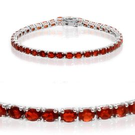 Jalisco Fire Opal (Ovl) Bracelet (Size 8) in Platinum Overlay Sterling Silver 10.000 Ct.