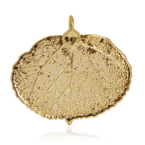 Aspen Leaf Pendant (Size 4 Cm) Dipped in 24K Yellow Gold