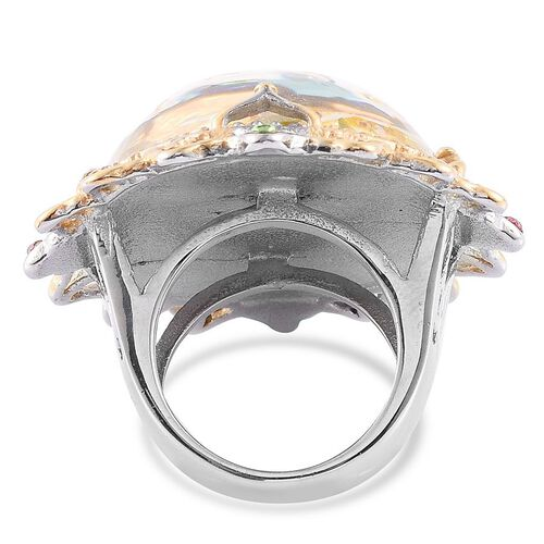 Natural Flower Preserved with Multi Colour Austrian Crystal Ring in ION Plated Gold with Stainless Steel