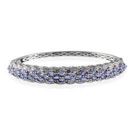 Tanzanite (Mrq), Diamond Bangle in ION Plated Platinum Bond (Size 7.5) 6.050 Ct.