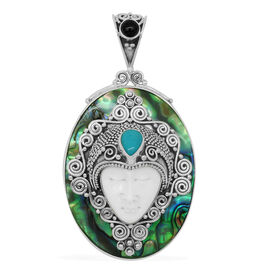 Princess Bali Collection OX Bone Carved Face (Ovl 7.00 Ct),  Abalone Shell Arizona Sleeping Beauty Turquoise and African Amethyst Pendant in Sterling Silver 30.105 Ct.