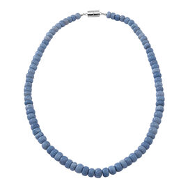 Rare Size Natural Peruvian Blue Opal Graduated Necklace (Size 18)  with Magnetic Clasp Lock in Rhodium Plated Sterling Silver 200.000 Ct.