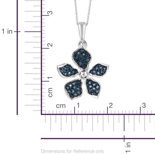 Kimberley Forget me Not Collection - Blue Diamond (Rnd) Floral Pendant with Chain in Platinum Overlay Sterling Silver 0.250 Ct.