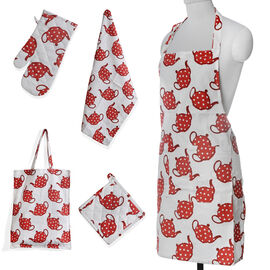 Kitchen Textiles Red and White Colour Tea Pot Printed Apron (Size 75x65 Cm), Glove (32x18 Cm), Pot Holder (Size 20x20 Cm), Kitchen Towel (Size 65x40 Cm) and Bag (45x35 Cm)