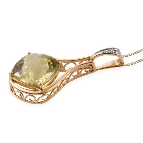 Checkerboard Cut Natural Ouro Verde Quartz (Cush 10.00 Ct), Diamond Pendant With Chain in 14K Gold Overlay Sterling Silver 10.010 Ct.