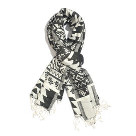 Black and White Colour Geometric Pattern Scarf with Tassels (Size 200x70 Cm)