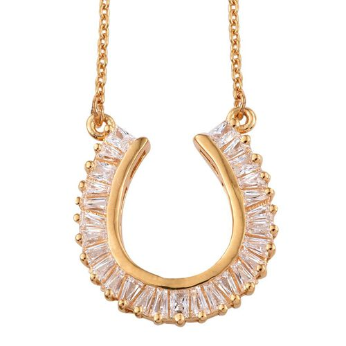 J Francis - 14K Gold Overlay Sterling Silver (Bgt) Necklace (Size 18) Made with SWAROVSKI ZIRCONIA
