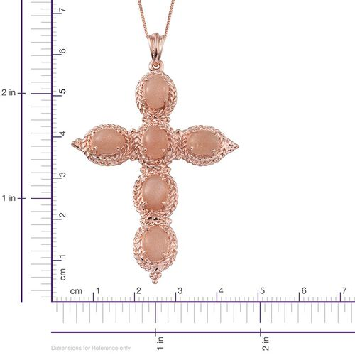 Morogoro Peach Sunstone (Ovl) Cross Pendant With Chain in Rose Gold Overlay Sterling Silver 8.250 Ct.