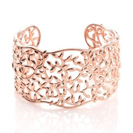 Olive Leaf Cuff Bracelet in ION Plated Rose Gold Bond (Size 7.5)