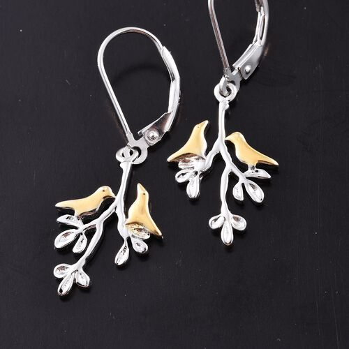 Platinum and Yellow Gold Overlay Sterling Silver Birds and Branches Lever Back Earrings, Silver wt 3.28 Gms.