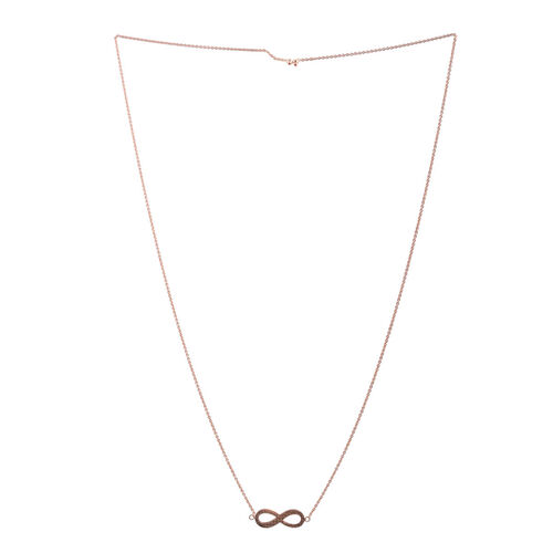 Close Out Deal Rose Gold Overlay Sterling Silver Adjustable Infinity Necklace (Size 26), Silver wt 4.80 Gms.