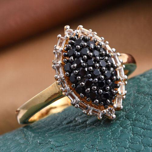 Boi Ploi Black Spinel (Rnd), White Topaz Ring in 14K Gold Overlay Sterling Silver 1.000 Ct.